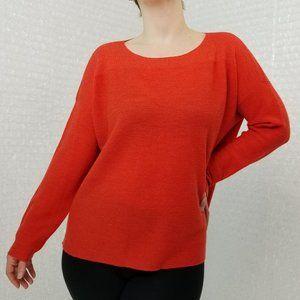 Eileen Fisher red orange light wool knit top